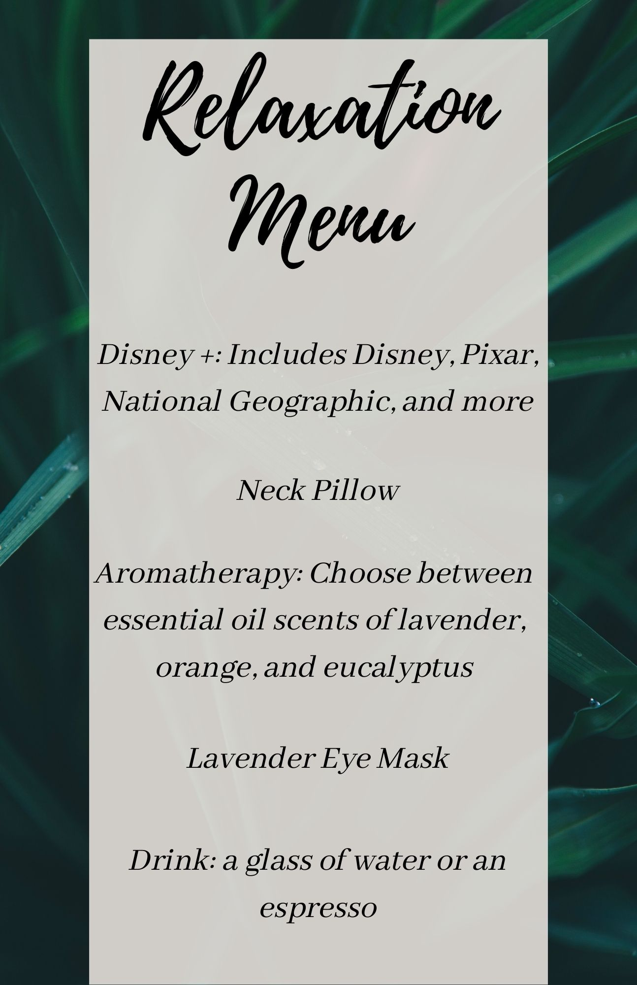 relaxation menu without nitrous